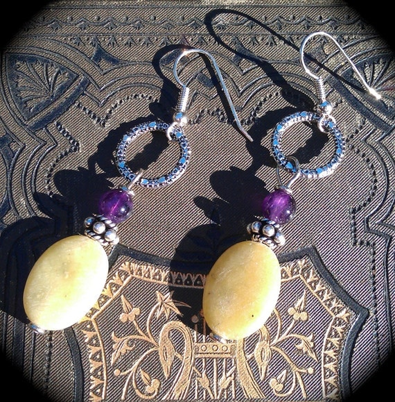 Amethyst and Turquoise earrings yellow and purple colorful handmade jewelry gift