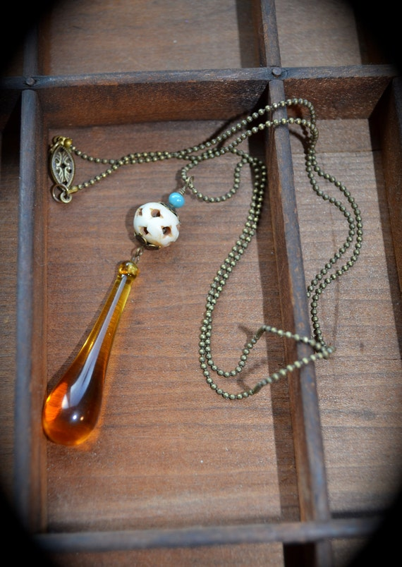 Amber Teardrop Necklace Vintage Assemblage ooak jewelry gift