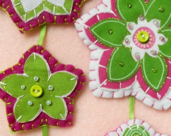 Floral and Funky, hot pink and lime green ornament set