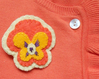Orange pansy felt pin