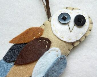 Felt Barn owlie ornament