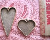 Heart Frame Pendant - Antique Gold or Antique Silver  - Patera Large Nunn Design - Resin Collage Frame