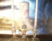 Old Hollywood.................Feather Bling Unity Candle Set