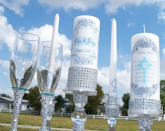 Something Blue Complete Bling Set............Unity Candle, Memorial candle, Candle holders, Flutes and Cake server,