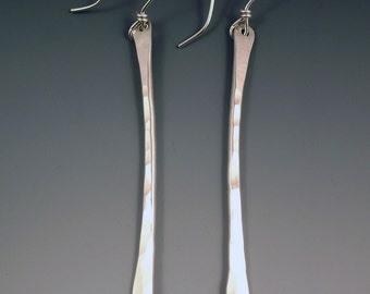 Hammered Sterling Silver-Simple and Elegant- Drop Earrings