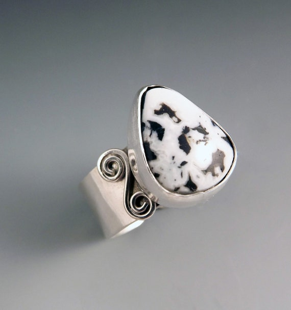 white buffalo turquoise ring by redpaw on etsy