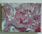 "Original mixed media artwork - pink peony 5""x7"" gallery wrapped canvas"
