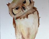 Halloween Owl painting original owl painting autumn owl 5x7 original watercolor