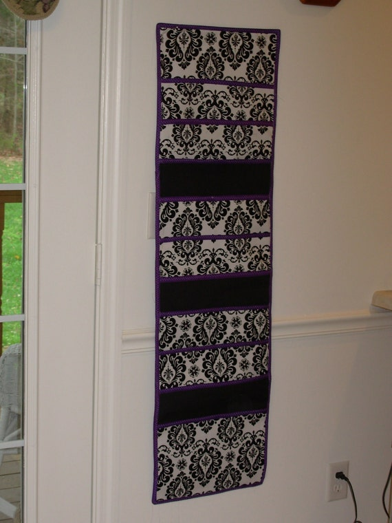 Black Damask with Solid Black Accents and Deep Purple Trim for Contrast