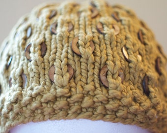 Olive Green Hat with Shell Beads