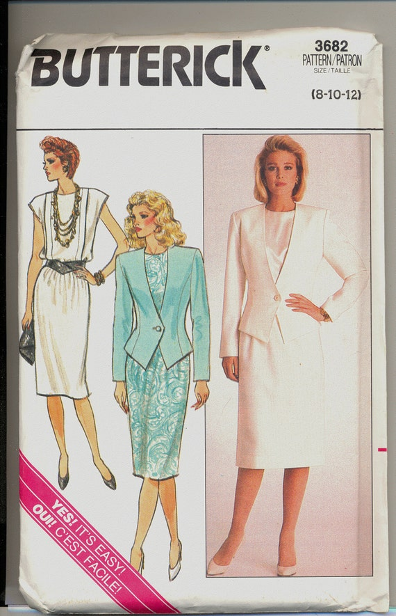 Vintage Butterick Sewing Pattern 3682 Misses Jacket Skirt and Top Sewing Pattern