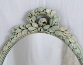 Shabby Chic Vintage Mirror Ivory & French Blue Antiqued French Romantic