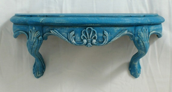 Shabby Chic Vintage Wall Shelf / Bed Crown Turquoise French Romantic Antiqued
