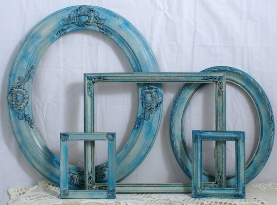 Shabby Chic Frames Set Turquoise Over Ivory French Romantic LARGE SIZES
