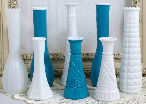Shabby Chic Vintage Milk Glass Vase Collection With Aqua