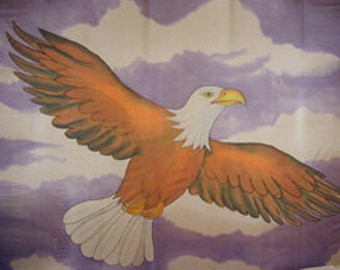 Soar Like an Eagle Hand Painted Silk Flag For Praise Worship or Dance