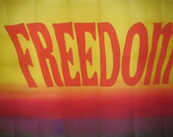 Freedom Hand Painted Silk Worship Flag For Praise Worship or Dance