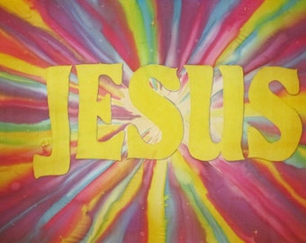 Jesus - Rays of Multi-Colored Light Hand Painted Silk Worship Flag For Praise Worship or Dance