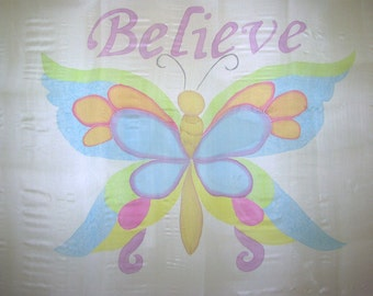 Believe Butterfly Hand Painted Silk Flag For Praise Worship or Dance