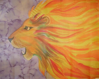 Roaring Lion of Judah Fire Mane Hand Painted Silk Worship Flag For Praise Worship or Dance
