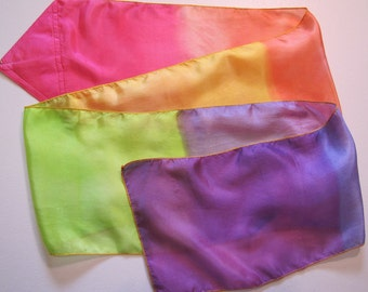 Covenant Promise Rainbow Multi-Colored Hand Painted Hand Dyed Silk Streamer Flag WITH Rod For Praise Worship or Dance