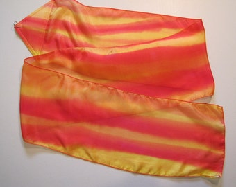 Fire Silk Multi-Colored Hand Painted Hand Dyed Silk Streamer Flag WITH Rod For Praise Worship or Dance