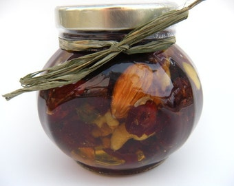 Foodie Gift Ideas, Holiday Table Treats Favors, Cranberries & Nuts infused With Honey.