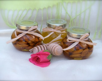 Birthday Gift, Hostess Gift, Honey Jar, Nuts With Honey, Wooden Dippers