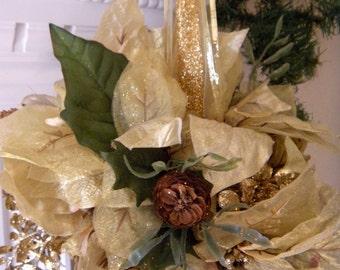 Unique Poinsettia Kissing Ball  Holiday Decoration, Gold Christmas Decor