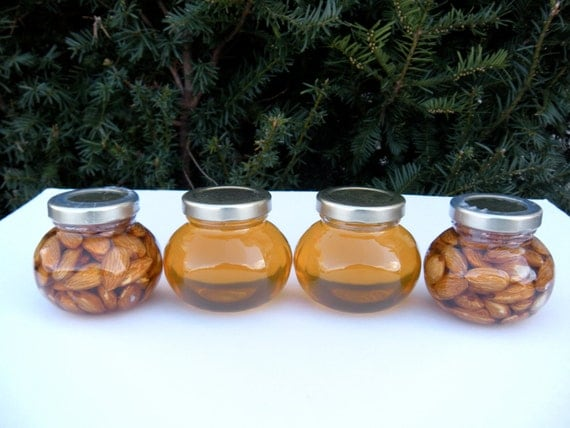 Edible Father's Day Gift Set, Raw Natural Honey, Almonds Combo Gift Sets  4 Jars