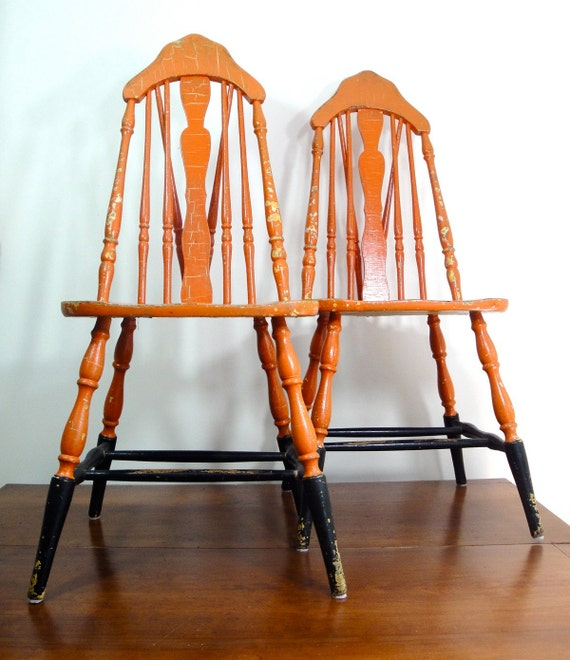 Reserved Listing 1930 S Kitchen Chairs Orange By Andieamour