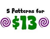5 for 13 Pattern Bundle - Amigurumi Plush Crochet PATTERNS ONLY (PDF)