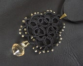 Black tatted lace pendant - lace motif with faceted teardrop - rosette with light gold colour beads - LandOfLaces