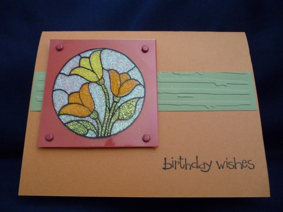 Greeting Card Stained Glass Happy Birthday