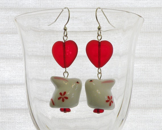Red Heart and Flower Bunny Earrings in Silver