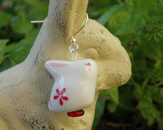 Large Red Flower Bunny Earrings in Silver