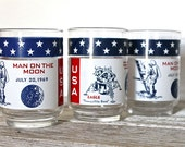 Vintage  Apollo 11 Drinking Glasses- First man on the Moon