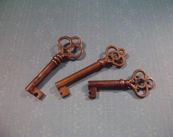 Set of 3 vintage-looking keys