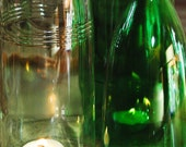 recycled water bottle luminarias. bright green and crystal clear.