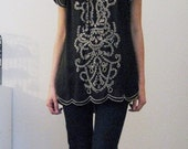 Cut Out Blouse with Scalloped Edges S/M