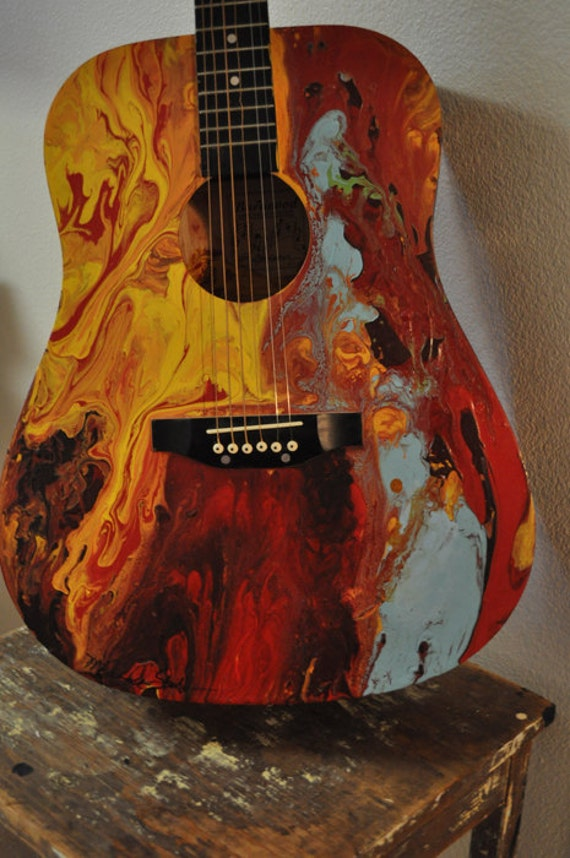 Abstract Painted Guitar Music And Art Come From the Soul