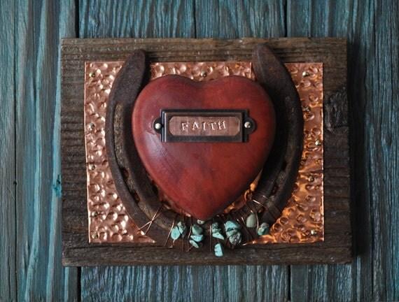 Western decor faith heart copper turquoise rustic cowboy for Faith decor