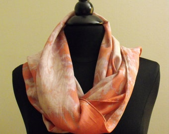 One of kind Hand Dyed Silk Scarf. Main colors Red and Lavender