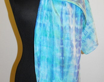 One of kind Hand Dyed Silk Scarf. Main colors blue and turquoise