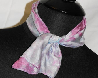 One of kind Hand Dyed Silk Scarf. Main colors pink and turquoise
