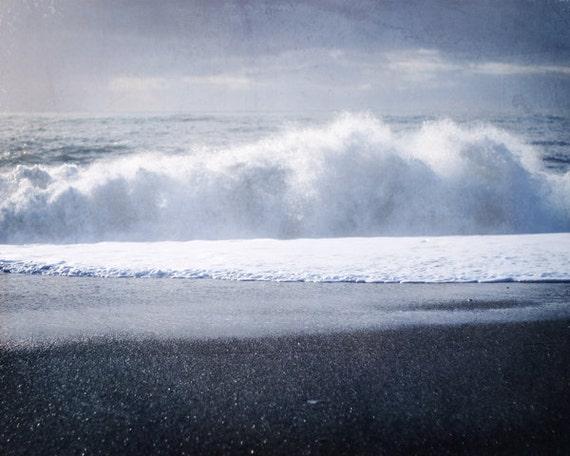 Crashing waves ocean photo 8x10 gray