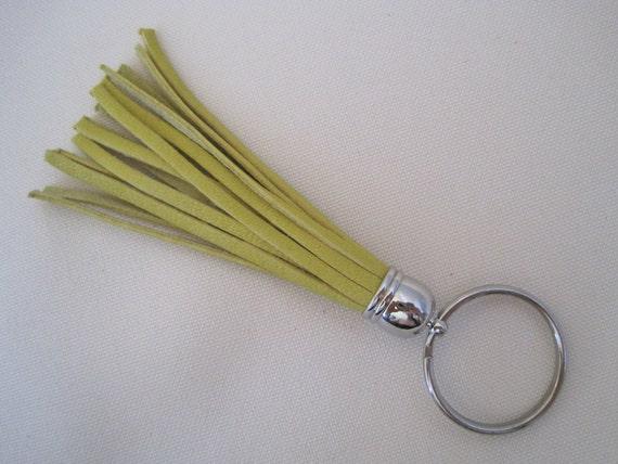 Metallic Yellow Leather Tassel Keychain, Silver Hardware