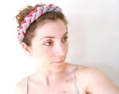 The Frida Kahlo statement  Necklace headband  for women in red and grey color made of elastic fabric