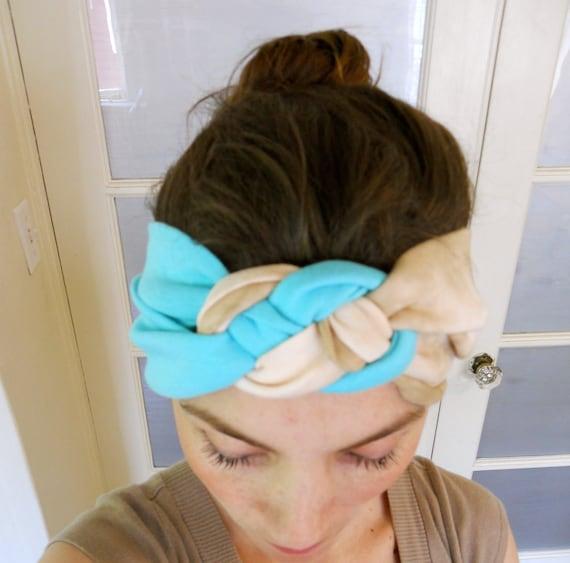 knotted turban Headband made of elastic fabric in Marble cream and aqua blue color
