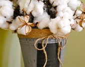 Large Cotton Centerpiece - Natural Cotton Bolls - Raw Cotton - Natural Cotton Branches - Wedding - Home Decor